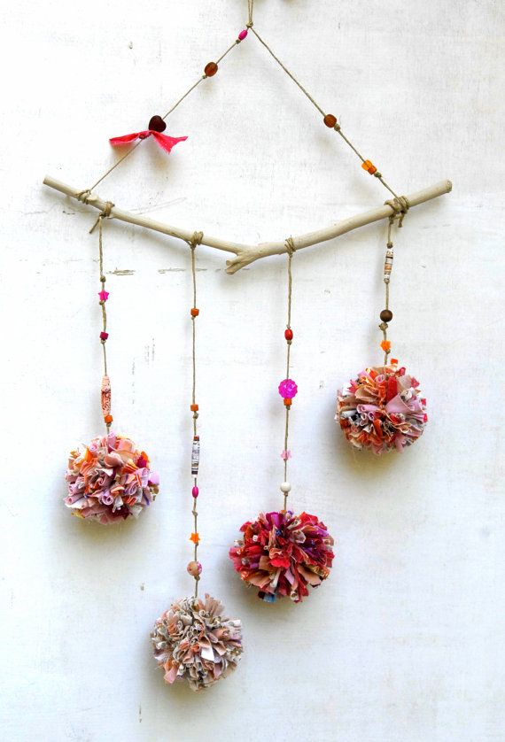 Pompoms mobile Branch --- Eco Friendly Mobile ---  Pink baby girl room decor --- pompom nursery room decor --- 4 fabric balls mobile,