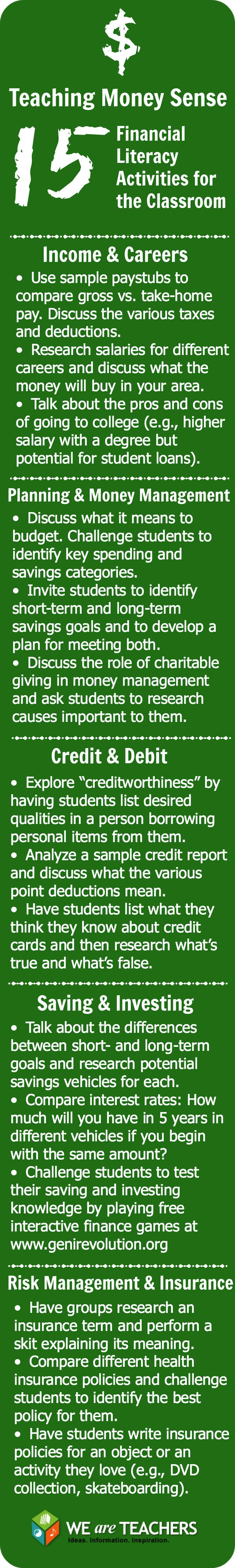 Simple Financial Literacy activities that can develop money sense skills so that every student no matter their background will have a foundation of knowledge to save money and understand the economy and how to be financially successful. Rather than in debt like so many present day adults which also exhibits the need for financial literacy education.