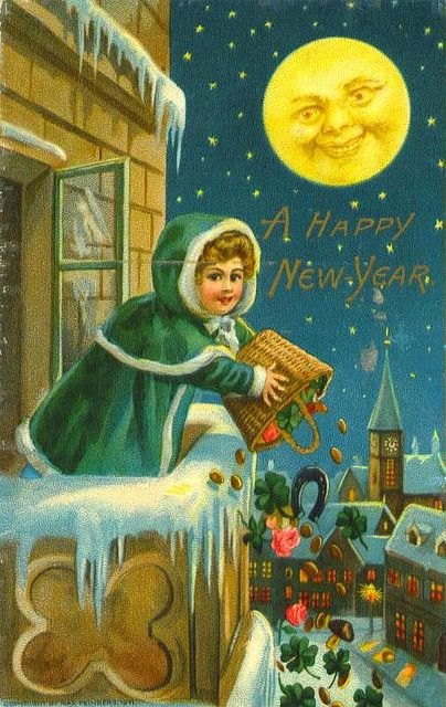 A basket full of happy New Year wishes. #vintage #New_Years #card