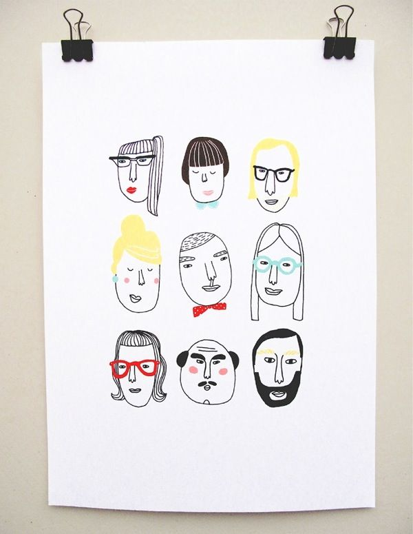 Faces by Kim Welling (via Where the Lovely Things Are) #KimWelling #faces #illustration