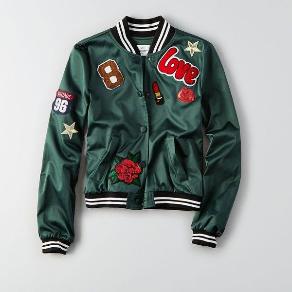 AE Patched Bomber Jacket ($70) ❤ liked on Polyvore featuring outerwear, jackets, green, green flight jacket, american eagle outfitters, american eagle outfitters jacket, patch jacket and sequin bomber jacket