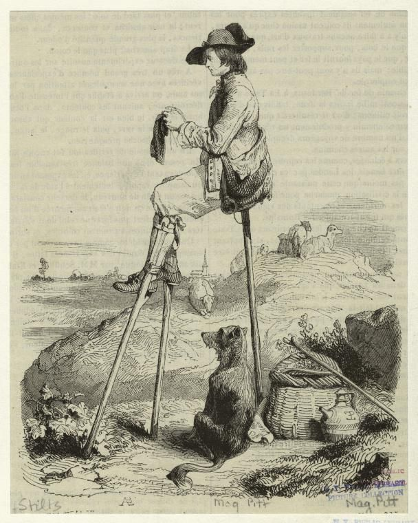 Not sure of the date on this one, but it's just too neat not to share.           Shepherd resting on stilts and knitting.           NYPL Digital Gallery.