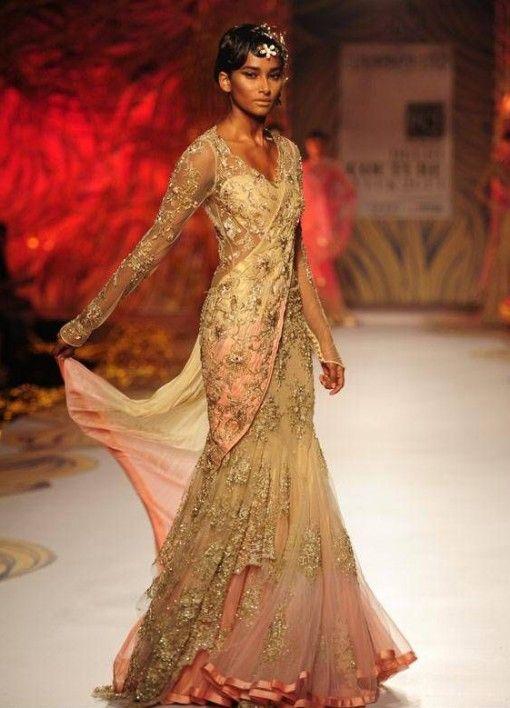 dcw 13 gaurav gupta gold lace net saree gown