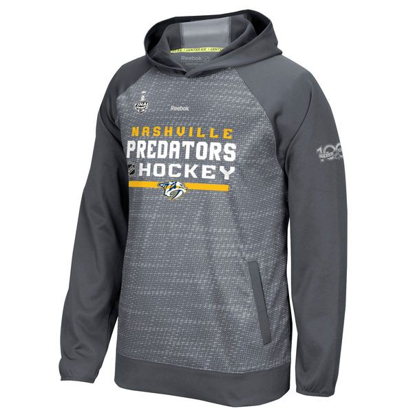 Men's Nashville Predators Reebok Silver 2017 Stanley Cup Final Bound Center Ice Performance Authentic Pullover Hoodie ($100)