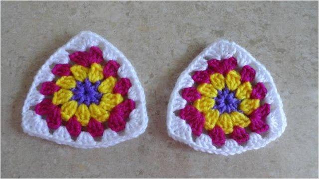 Fashion y Fácil : Tutorial de cómo hacer grannies o pastillas triangulares paso a paso a ganchillo ó crochet. Triángulos de punto afgano