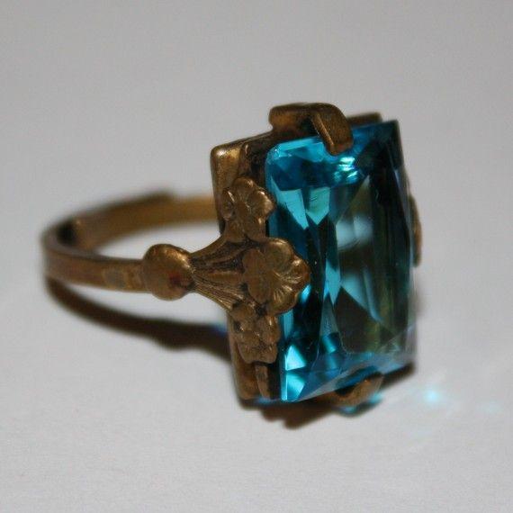 OMG !!! Antique Edwardian Victorian Blue Zircon Glass Brass Ring