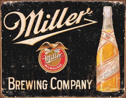 Birra Miller vintage Targa in metallo