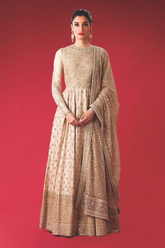 Beige Raw Silk Floor Length Anarkali