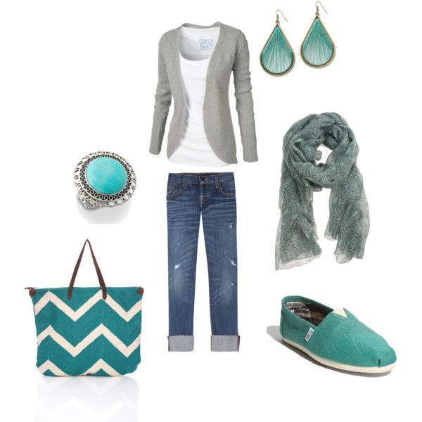 gray & turquoise.Gray Turquoise, Colors Combos, Gray Love Fashion, Casual Outfit, Weekend Outfit, Clothing Outfit, Casual Looks, Travel Style, Clothing Shoes Etc