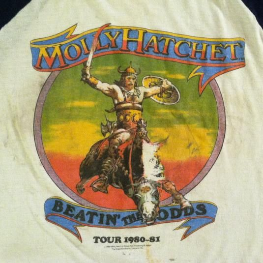 Vintage 1980-1981 Molly Hatchet rock concert tour t-shirt
