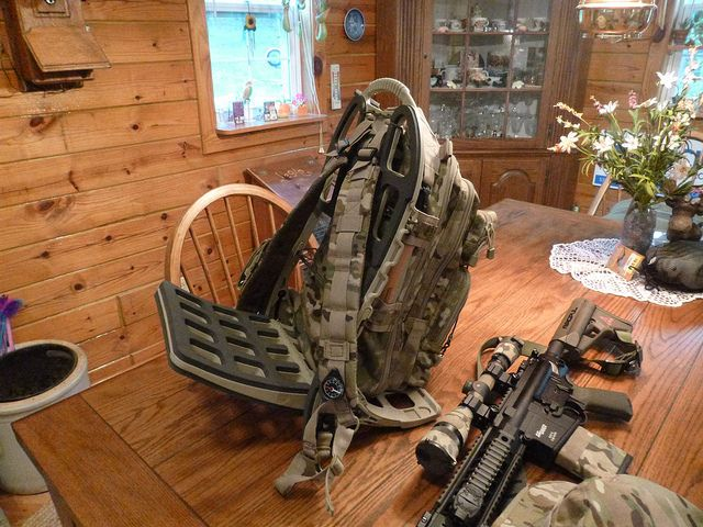 hunting pack on pack mule frame