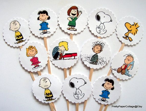 Peanuts Gang Cupcake Toppers Birthday Party by PrettyPaperCottage