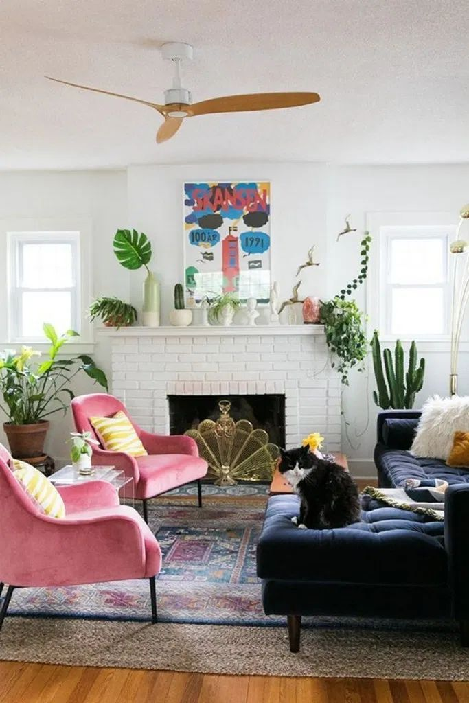 Blue Room Design Ideas In 2020 Colourful Living Room Retro Living Rooms Quirky Home Decor
