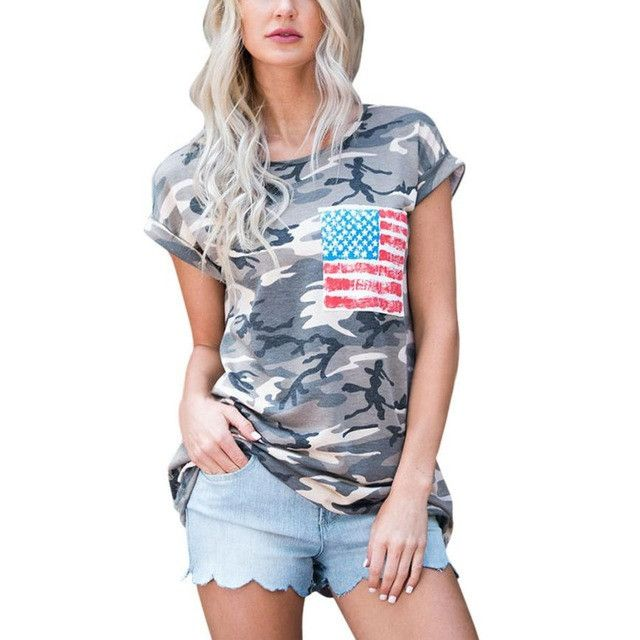 2017 American Flag Short Sleeve Camouflage T Shirts, Summer Style