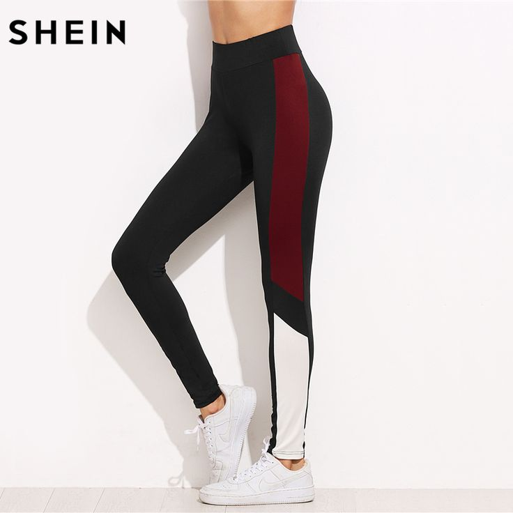 Aliexpress.com : Buy SHEIN Color Block Contrast Panel Leggings Casual Ladies Workout Pants Black Fitness Autumn Activewear for Women from Reliable legging casual suppliers on SheIn Official Store