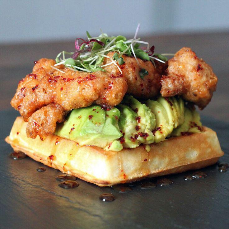 [Food] Fried chicken & waffle avocado toast w/ hot aleppo pepper honey, sea salt and microgreens. [960 × 960]