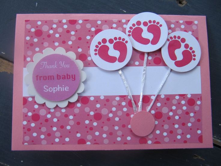 Handmade New Baby Girl Thank You Card