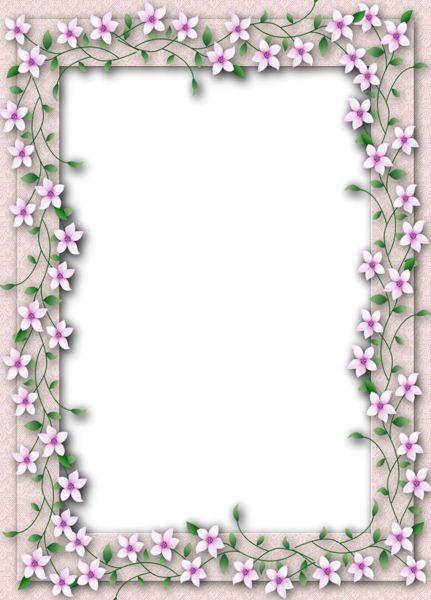 Delicate PNG Transparent Flower Frame.