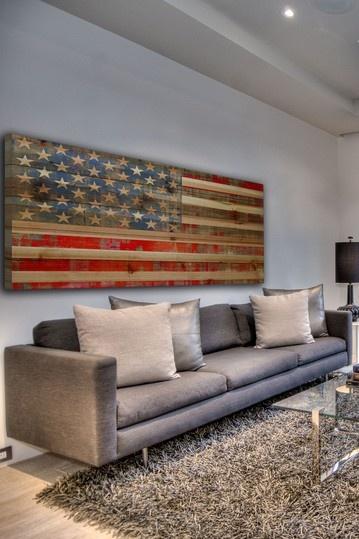 USA Flag Brown Distressed Wood Wall Art