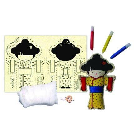 Brinquedos para costurar e pintar - Boneca Kokeshi