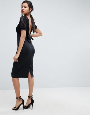 bd4f1452635 ASOS Midi Pencil Dress With Lace Top and Bow Back