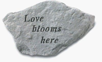 Love Blooms Here Accent Stone by Kay Berry. $17.76. Made in the USA. See our large line of KayBerry cast stone benches, garden stakes, garden accent stones, and memorial markers. Weatherproof; suitable for indoor or outdoor use. Product dimensions: 12 1/4 x 7 1/4 inches. Love Blooms Here Accent Stone Great Garden Gift Garden accent stones add character and beauty to gardens, mulch beds and entry ways. Each stone is handcrafted and made of a concrete composite,...