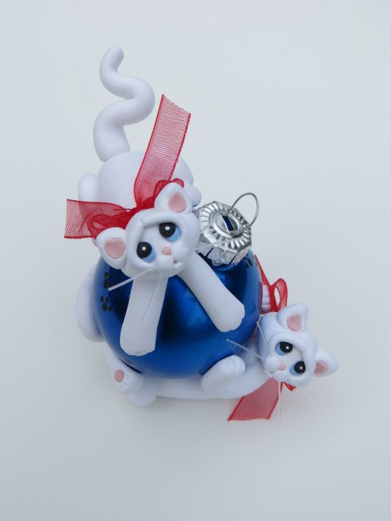 Polymer Clay Christmas Ornament White Cats