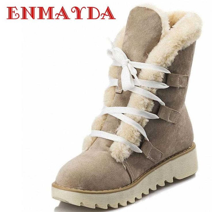 46.64$  Watch here - http://alihzs.worldwells.pw/go.php?t=32330063578 - ENMAYDA U.S. Large Size 4-10.5 free shipping new cute style warmth in calf suede women boots flat shoes snow boots  SHOES WOMEN 46.64$