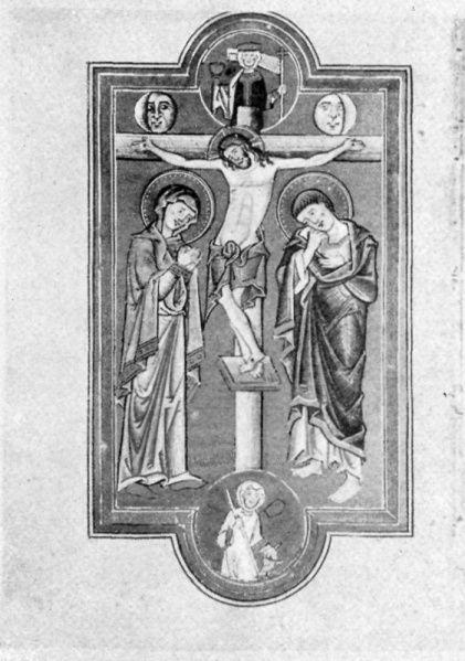 1211-1215 Landgrafenpsalter, Thuringisch-sächsisch, zw. 1211 u. 1215.: Stuttgart, Landesbibl., H.B. II. Bibl. 24, Landgrafenpsalter. Fol 73 v: Kreuzigung.
