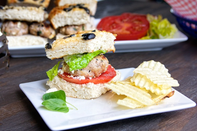 Turkey burgers with a Greek spin