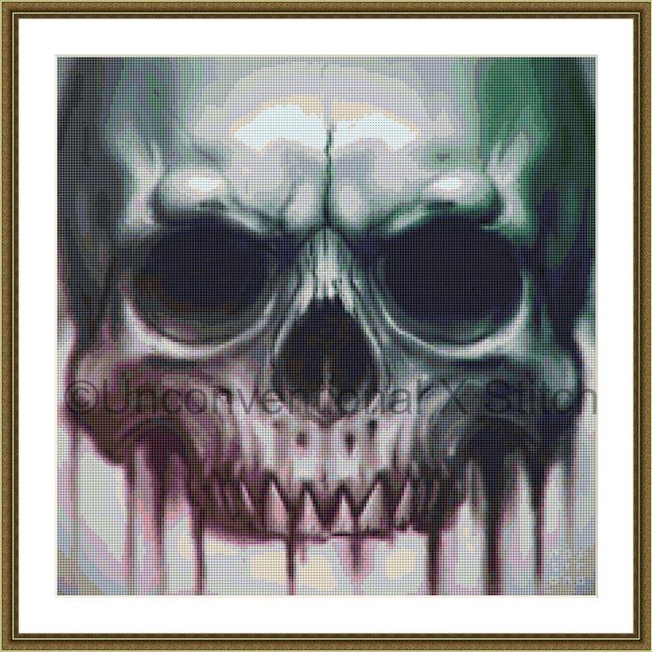 Skull cross stitch pattern - Bleed inked skull v2 by UnconventionalX on Etsy