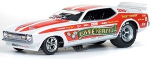 1972 Mustang Bounty Hunter Funny Car driven by Connie Kalitta  Auto World AW1111  1:18 Scale Funny Car  Features:  1st time in 1:18, Over 120 parts, Soft rubber tires, Die-cast tubular chassis, Authentically detailed composite funny car bodies - Just like the real thing!  Detailed rims, Engine plumbed & wired,  ALL-NEW TOOLING!  $84.95  https://kcautoacc.3dcartstores.com/1972-Connie-Kalitta-Bounty-Hunter-Mustang-Funny-Car-118-Scale-Diecast-Auto-World-AW1111_p_12736.html