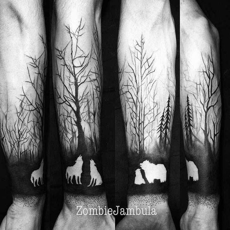 Animalistic Forest Half Sleeve Tattoo by zombiejambula
