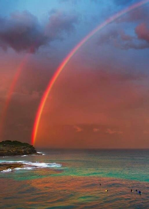 Bondi Beach double Rainbow Australia