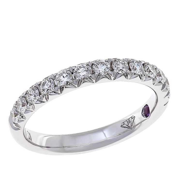 Gold & Diamond Source® 14K White Gold 0.53ctw Diamond and Amethyst Wedding Band Ring