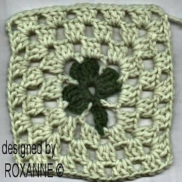 free crochet shamrock square pattern: Crochet I, Squares Patterns, Crochet Blocks, Crochet Obsession, Crochet Projects, Crochet Squares, Crochet Knitting Sewing, Crochet Shamrock, Crochet Secrets