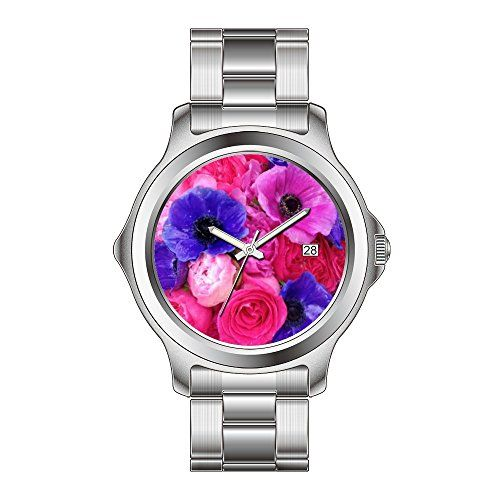 KSD Custom Gift Watch Womens Fashion Japanese Quartz Date Stainless Steel Bracelet Wrist Watch Blue Pink Purple Floral  Rose Peony Anemone Watch -- Click image for more details.