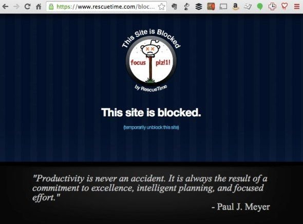 """RecueTime Premium allows blocking distracting websites! """"The great part about FocusTime is you don't have to worry too much about compiling a big list of distracting sites you'd like to block. RescueTime already does that for you based on the types of activities that you've told it were distracting.""""#TimeManagement #RescueTime #focus #study #HighSchool #College"""