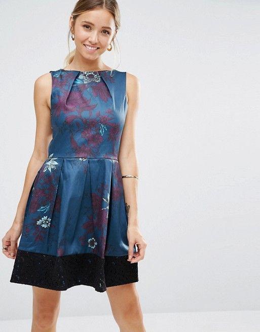 Closet London | Платье с цветочным принтом и кружевным краем Closet