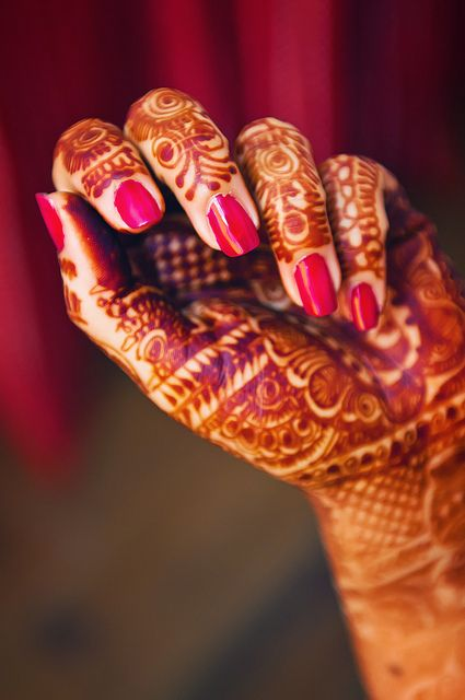 Mehndi Designs For Nails : Henna red nails and nail polish on pinterest