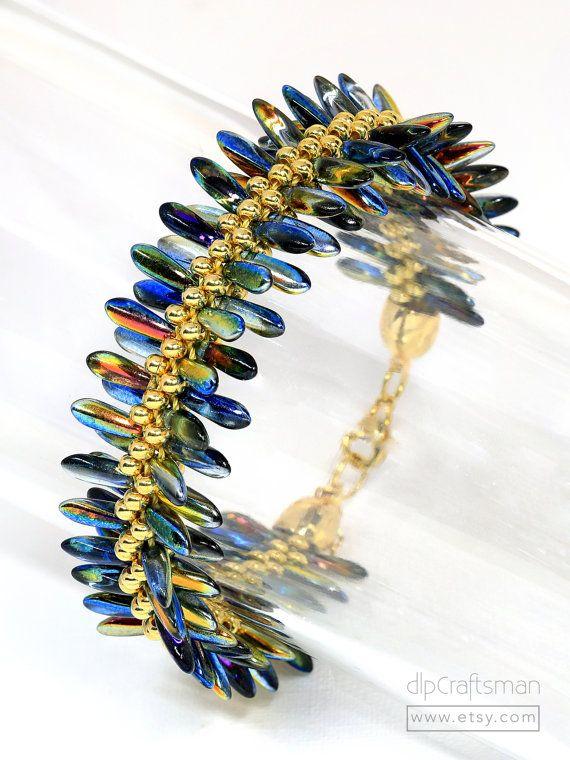 Flat Kumihimo bracelet with dagger beads