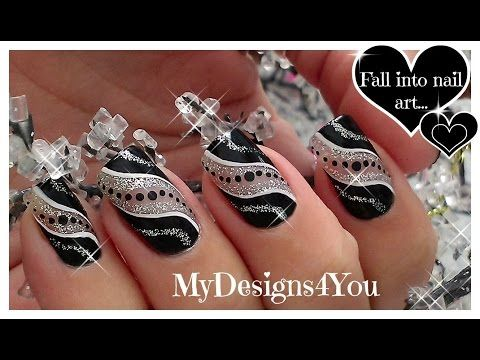 ♥ Super Easy Party Nail Art | Black And Silver Glitter Nails ♥