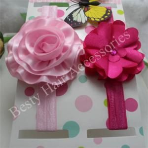 Infant hot Pink Flower Elastic Headbands