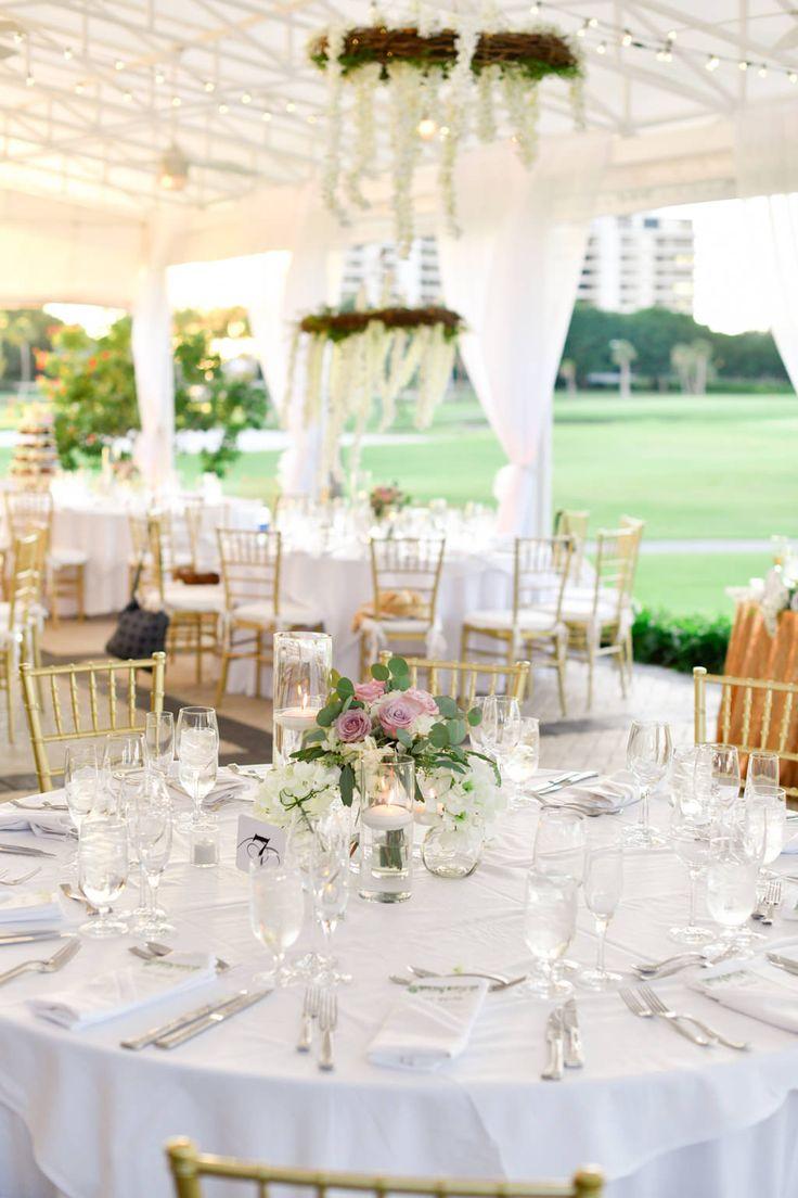 Tropical, Classy Elegant Wedding Reception Decor, Round Tables ...