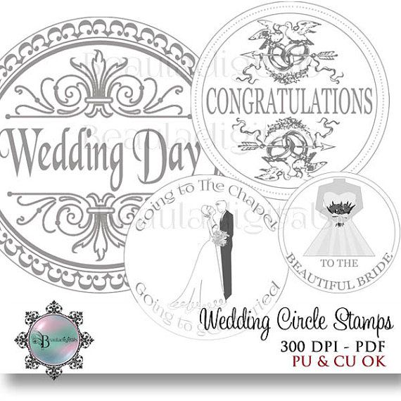 Wedding Circle Sentiment Stamps  2 inch and 1 by Beauladigitals