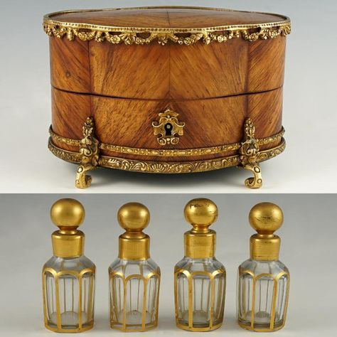 Antique late 19th century French Louis XVI style perfume casket, box or caddy with four original scent bottles inside. A lovely perfume box of