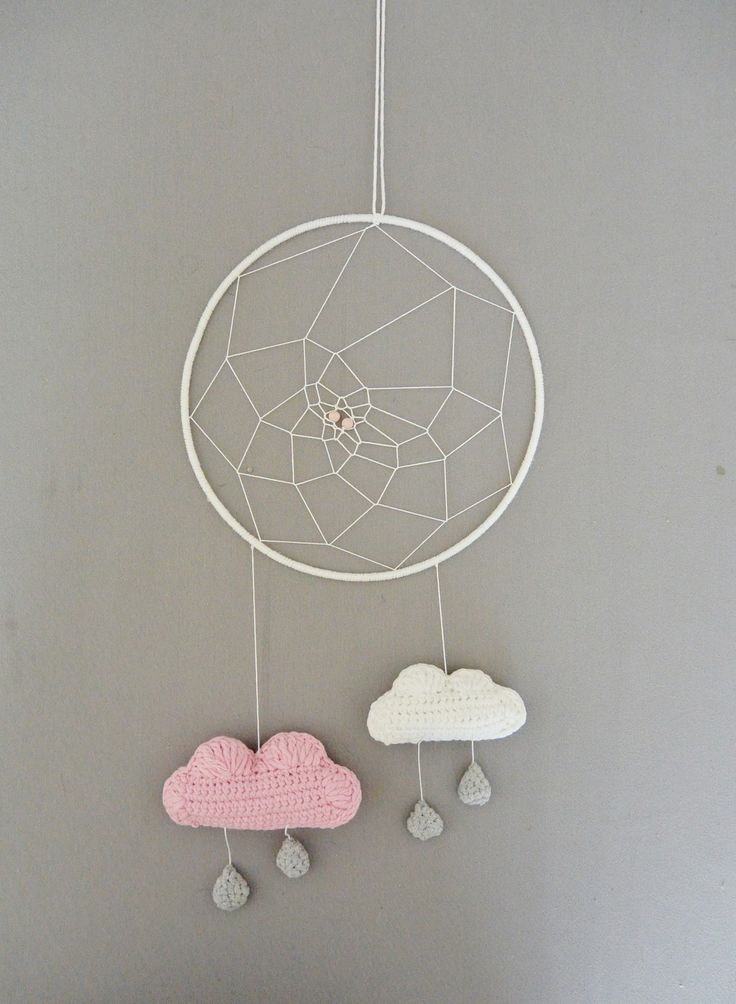 Attrape r ve nuage rose blanc gris poudr au crochet tapestry crochet and dreamcatchers - Attrape reve crochet ...