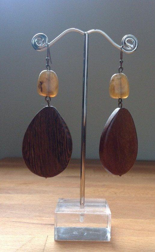 Large teardrop natural wood and brown gemstone by PetalJewels