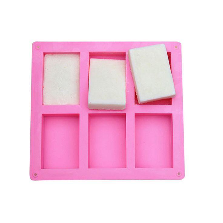 Hottest 6 cavity rectangular silicone soap mold, custom silicone soap molds