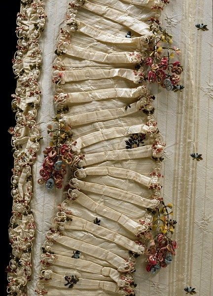 18th century dress trimming with box pleats | Ruth Singer